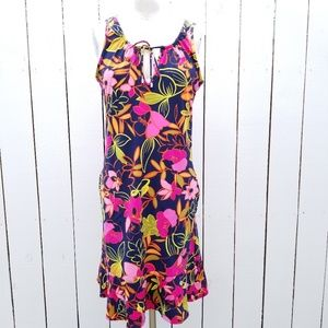 Lands End Floral Swimsuit Cover up Dress